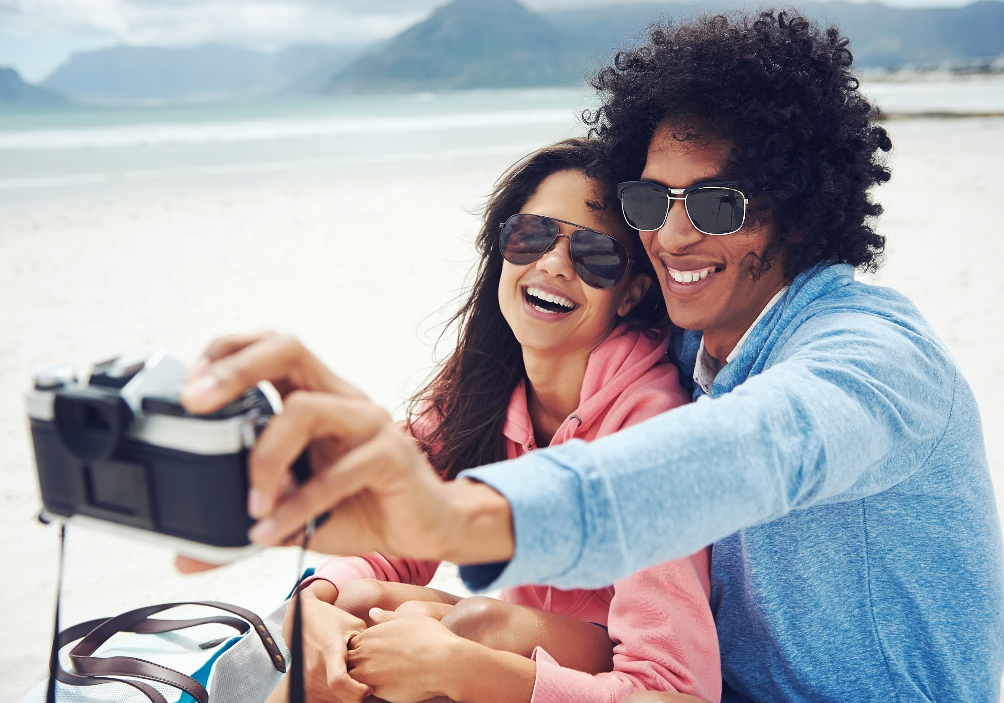 Couple taking selfie on summer holiday