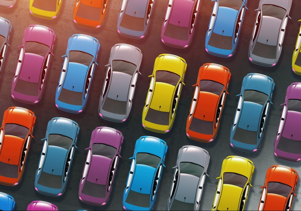 Colourful cars lined up